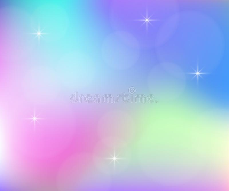 Stylish holographic backdrop with gradient mesh. Magic background with stars. royalty free illustration