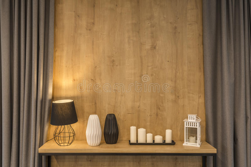 Stylish home decoration. With lamp nad candles stock photography