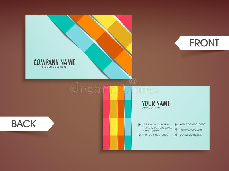 Stylish Horizontal Business Card Or Visiting Card. Stock ...