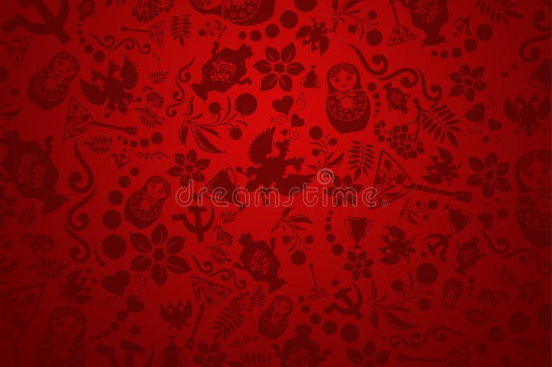 Stylish illustration, football background. Red wallpaper. Trend background 2018. invitations, gifts, leaflets, brochures stock image