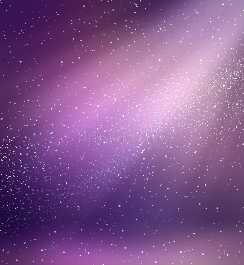 Magic purple room background. Empty violet interior. Magical rays of light. Sequins floating in air. Dust romantic background. vector illustration