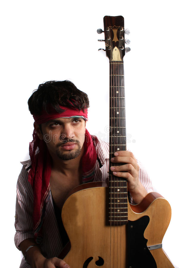 Download Stylish Indian Guitarist stock image. Image of guys, guitarists - 19325021