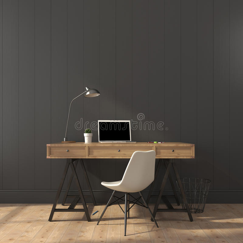 The stylish interior of home office stock photos