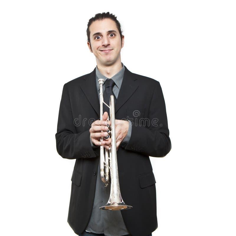 Download Stylish Jazz Man Playing The Trumpet Stock Image - Image: 18020009