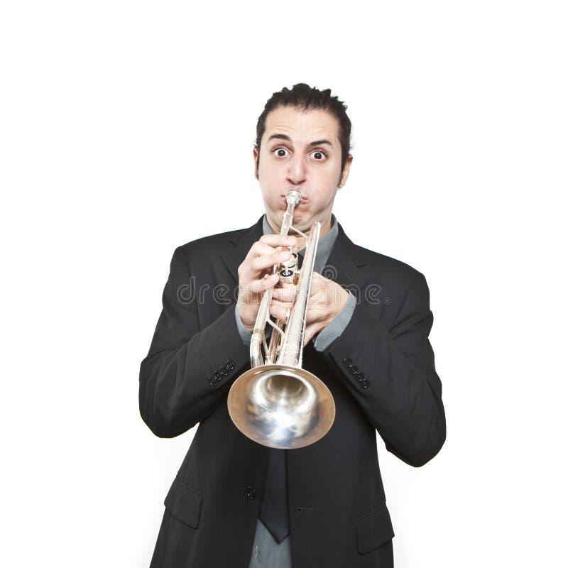 Download Stylish Jazz Man Playing The Trumpet Stock Photo - Image: 18020036
