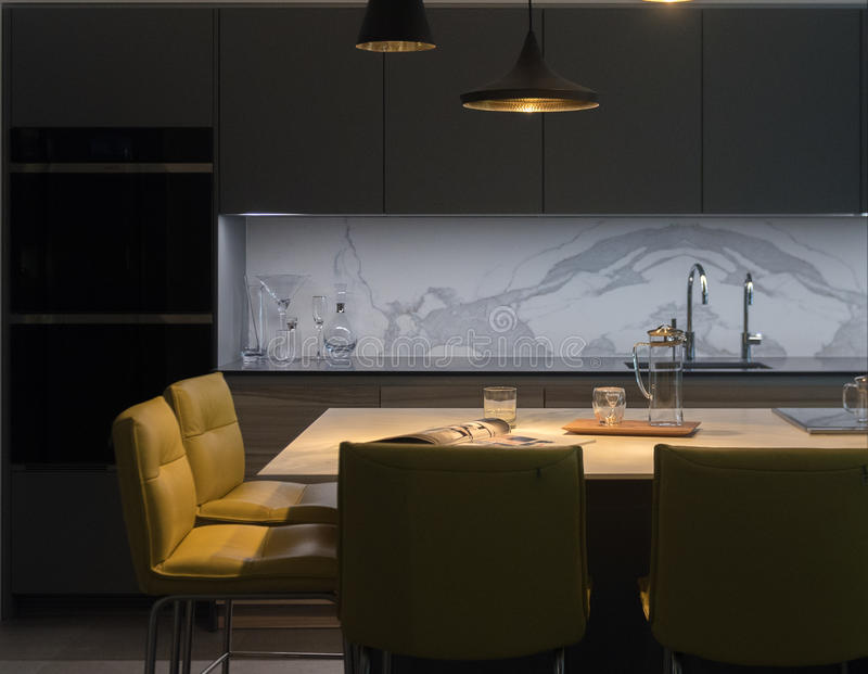 Stylish Kitchen Diner. Modern and Contemporary Kitchen Diner stock image