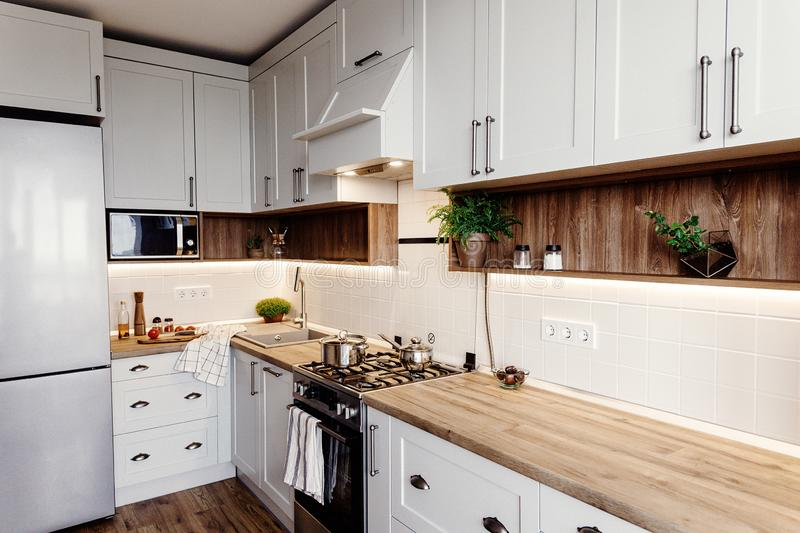 Stylish kitchen interior design. Luxury modern kitchen furniture in grey color and steel oven,fridge, sink, wooden tabletop, pots. Gray cabinets in stock photos