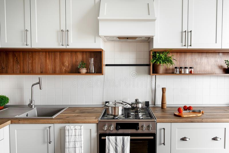 Stylish kitchen interior with modern cabinets and stainless steel appliances in new home. design in scandinavian style. cooking f. Ood. green plants decor royalty free stock photo