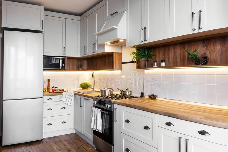 Stylish kitchen interior with modern cabinets and stainless steel appliances in new home. design in scandinavian style. cooking f. Ood. green plants decor stock image
