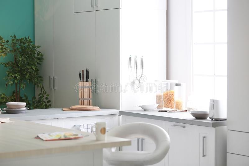 Stylish kitchen interior setting. Idea for home. Design royalty free stock images