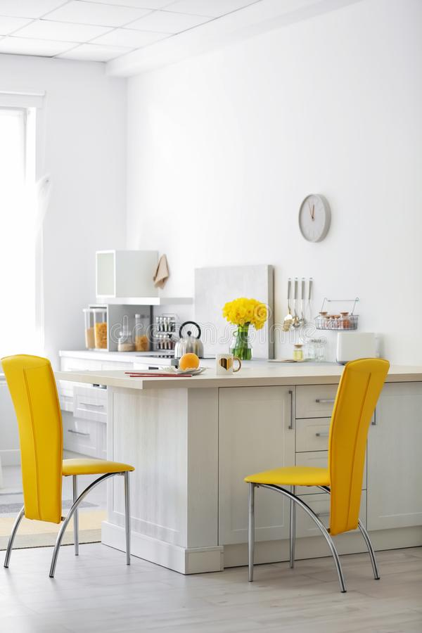 Stylish kitchen interior setting. Idea for home. Design royalty free stock photography