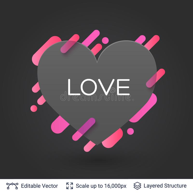 Download black badge heart shaped sticker stock vector illustration of passion like