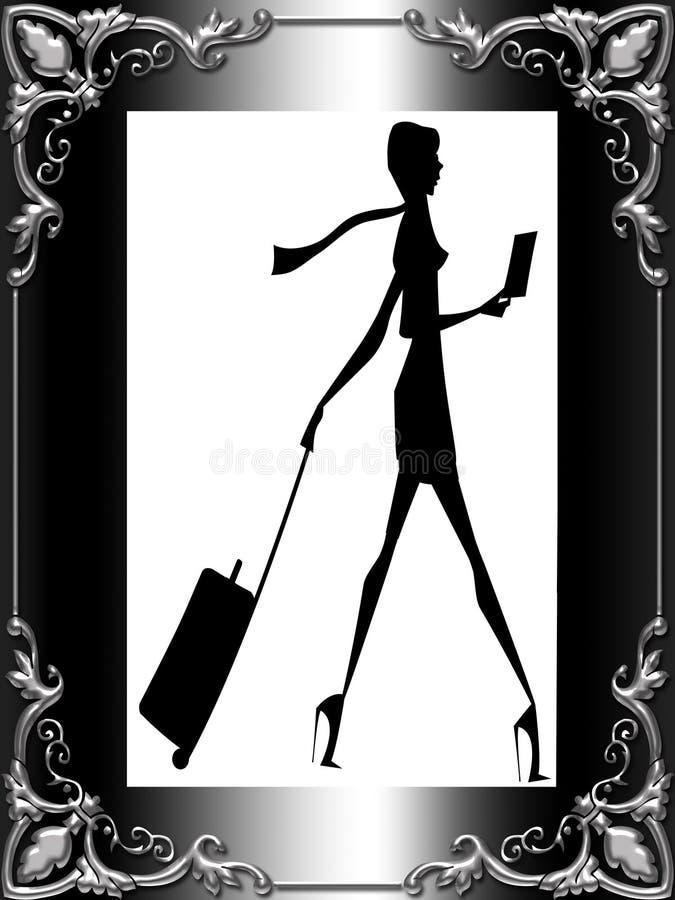 Stylish Lady Traveler Framed Stock Images