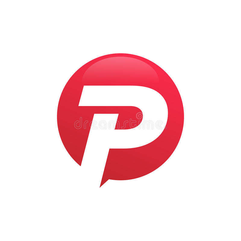 Stylish Letter P Inside Circle Symbol Creative Design Stock Vector