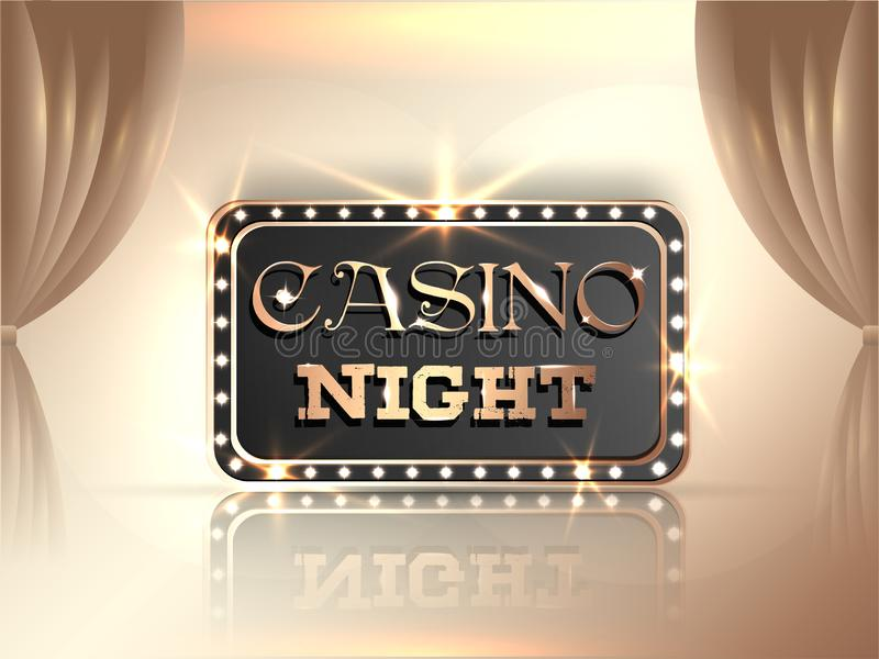 Stylish lettering of Casino night in marquee light frame on shiny curtain background. Retro style poster or banner design royalty free illustration