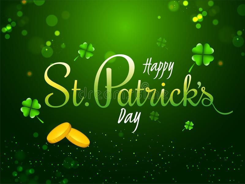 Stylish lettering of Happy St. Patrick`s Day with gold coins on green background. Stylish lettering of Happy St. Patrick`s Day with gold coins on green stock illustration