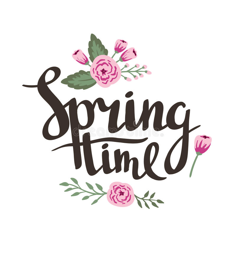 Stylish lettering Spring timewith flowers and leaves. Vector illustration. Spring hand drawn background royalty free illustration