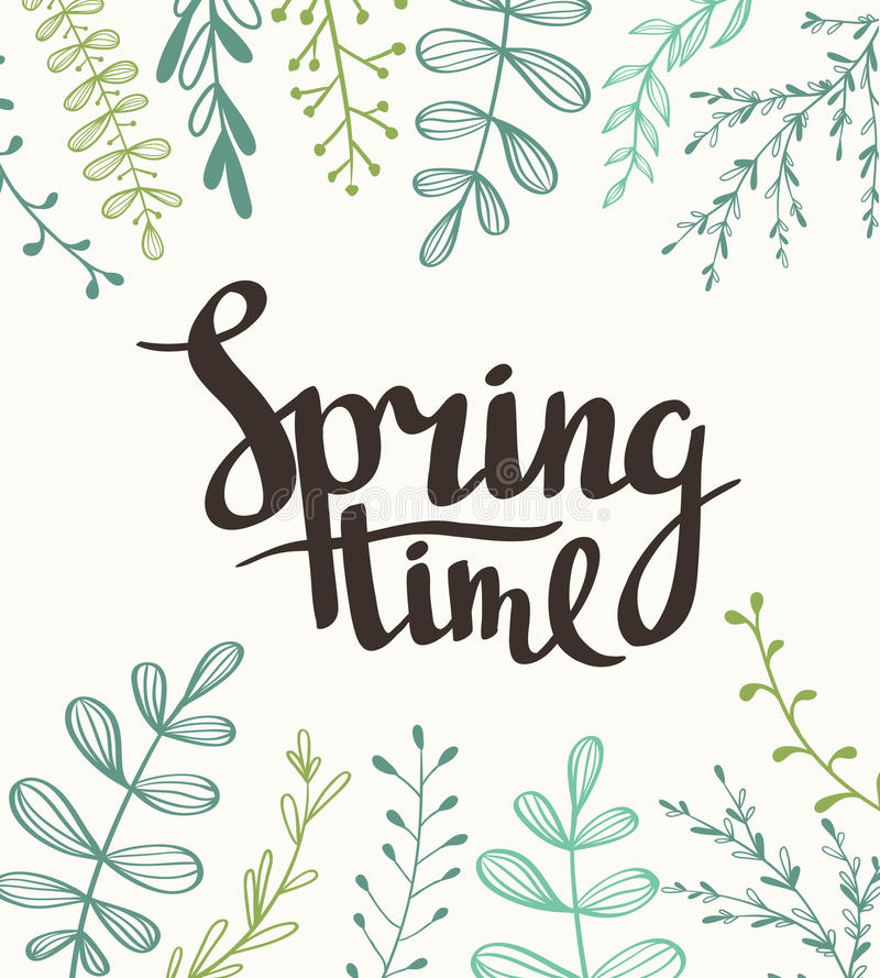 Stylish lettering Spring timewith plants. Vector illustration. Spring hand drawn background royalty free illustration