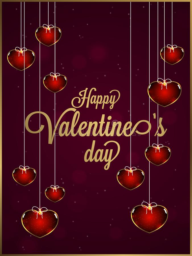 Stylish lettering of valentine`s day on brown bokeh background. Stylish lettering of valentine`s day on brown bokeh background decorated with hanging heart stock illustration