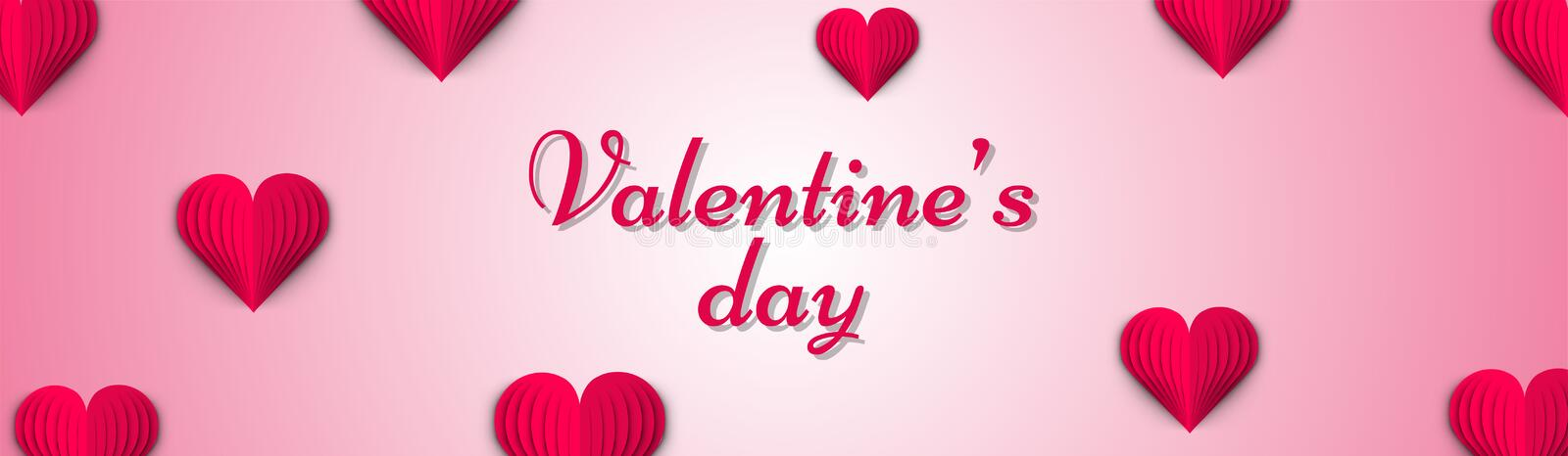 Stylish lettering of valentine`s day on glossy pink background. stock illustration