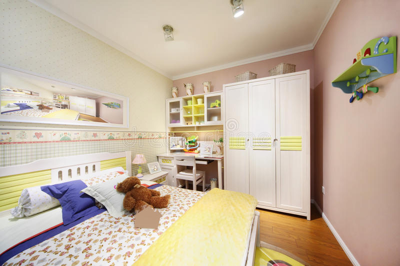 Download Stylish Light Bedroom For Child Stock Photo - Image: 28023912
