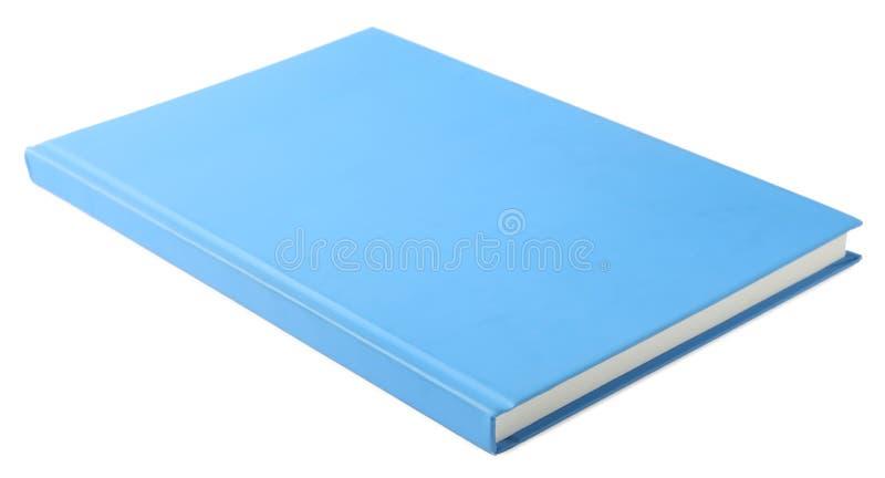 Stylish light blue notebook. Isolated on white stock images
