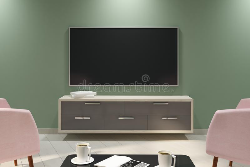 Stylish light interior with empty TV. And furniture. Mock up, 3D Rendering stock illustration