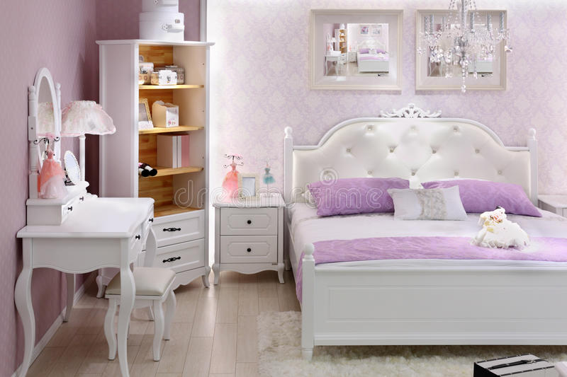 Stylish lilac bedroom with double bed stock image image for Beautiful lilac bedrooms