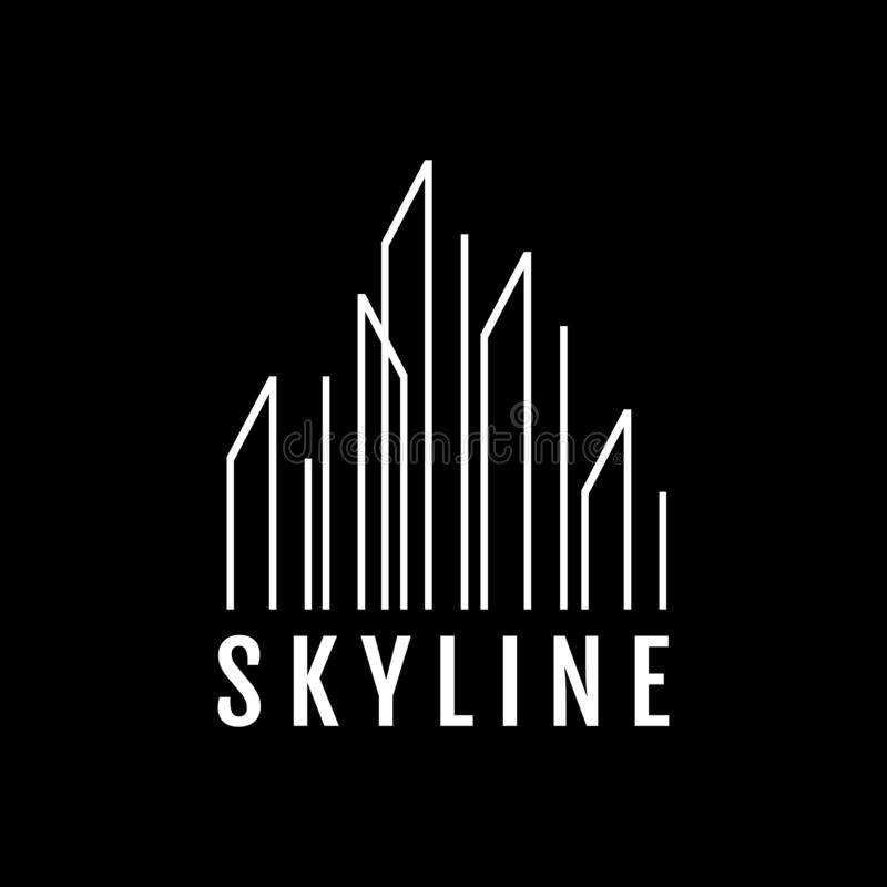 stylish line buildings skyline logo vector design symbol illustration royalty free illustration