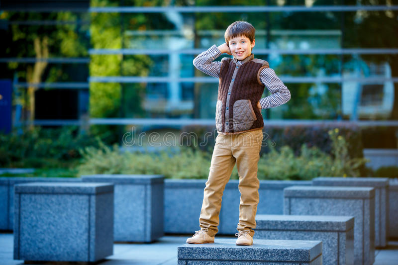 Stylish little boy in fashionable clothes royalty free stock image