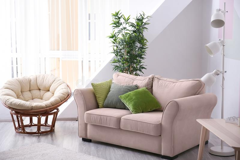 Stylish living room interior with comfortable sofa royalty free stock photography