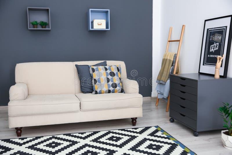 Stylish living room interior with sofa royalty free stock photos