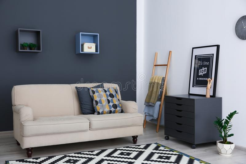 Stylish living room interior stock photo