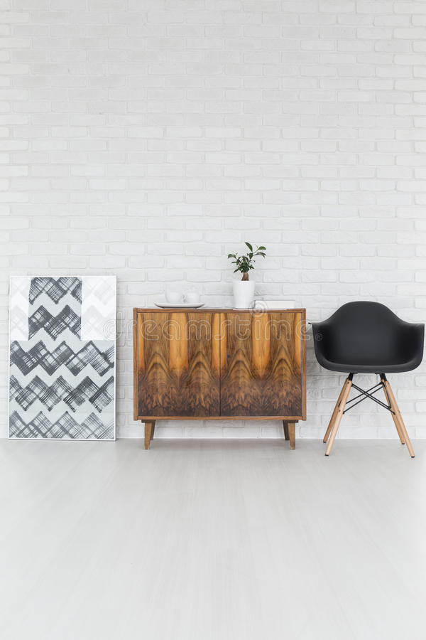 Stylish loft decorations and furniture royalty free stock photos