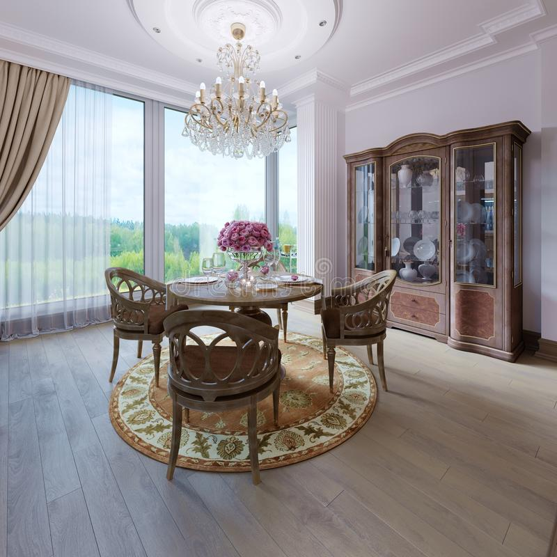 Stylish luxury classical interior of a dining room. Brown colors wooden interior design. 3d rendering royalty free illustration