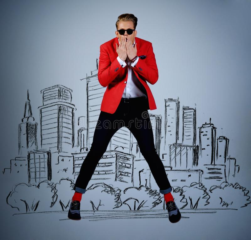 Stylish man against city panorama royalty free stock images