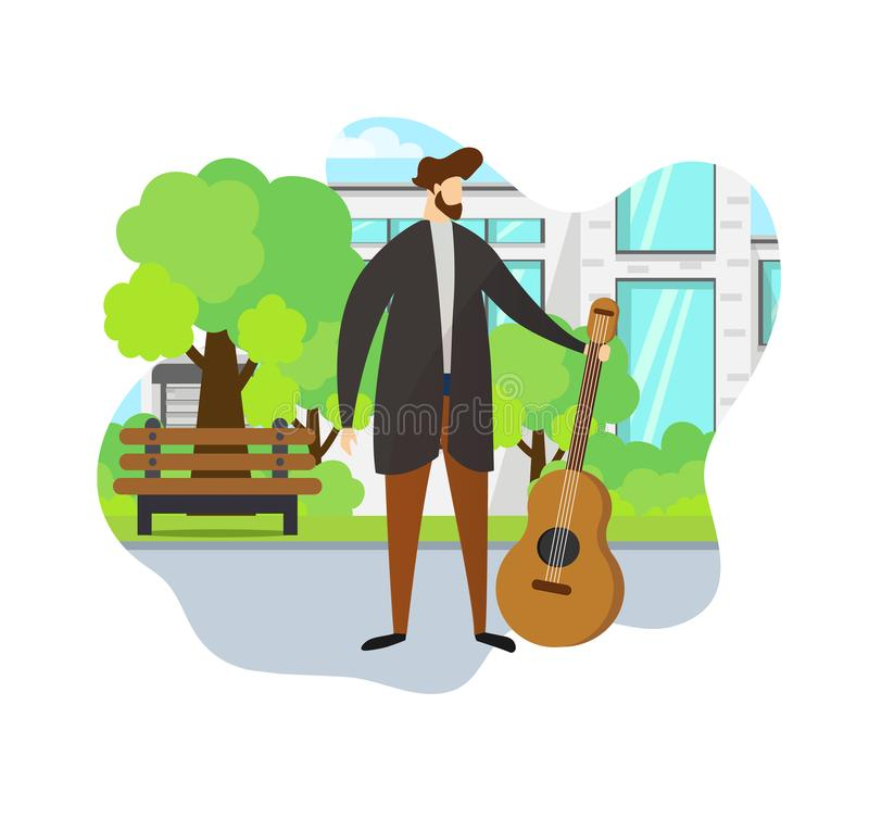 Stylish Man Holding Acoustic Guitar in Hand. Park. stock illustration