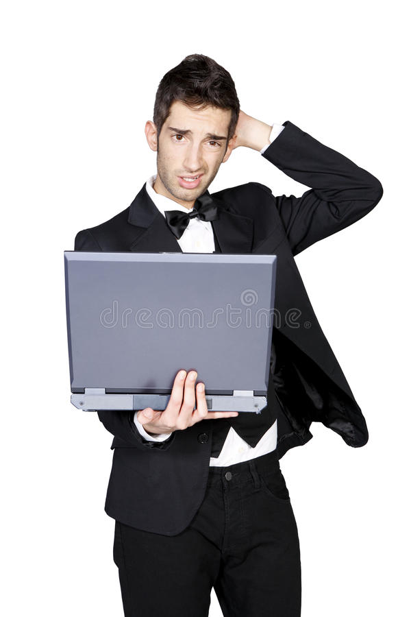 Download Stylish Man Looking Confused And Holding Laptop Stock Image - Image: 13297589