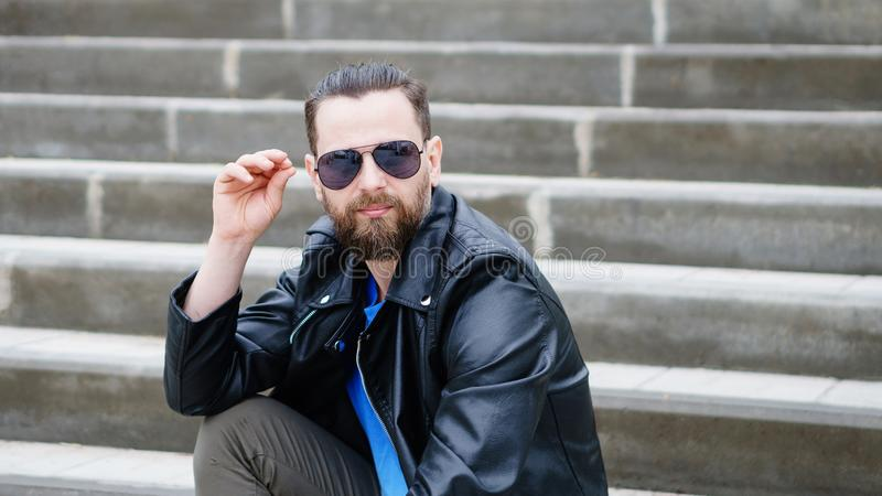 Stylish man on observation deck royalty free stock photography