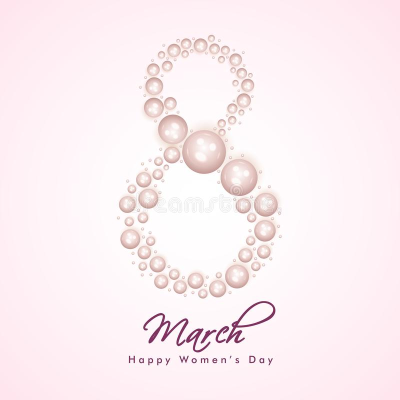 Stylish 8 march lettering on glossy pink background can be used as greeting card desigN vector illustration