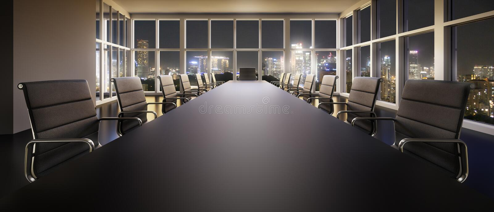 Stylish meeting room in a high rise building royalty free illustration