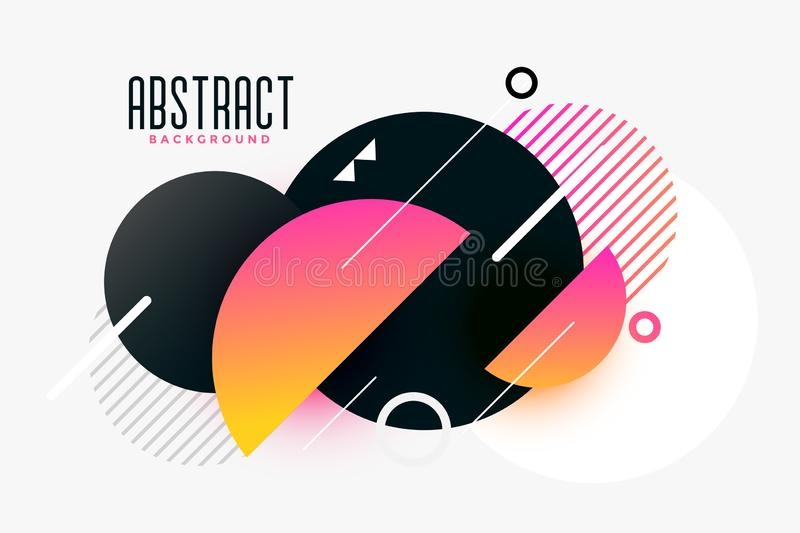 Stylish memphis background made with circles. Vector royalty free illustration