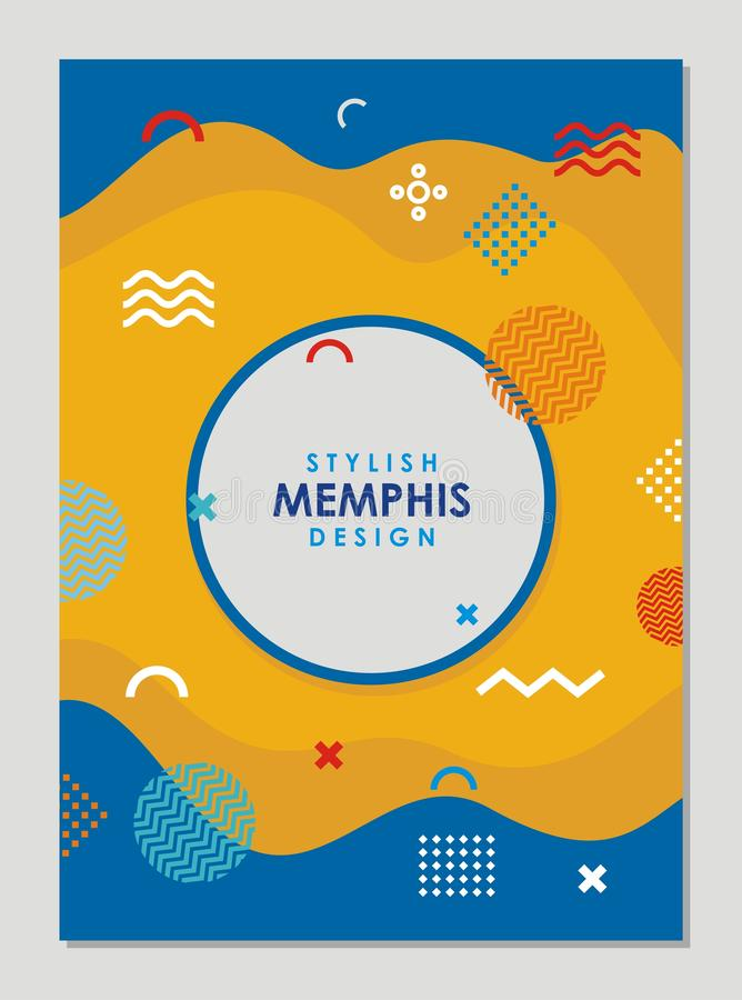 Stylish memphis retro poster design royalty free illustration