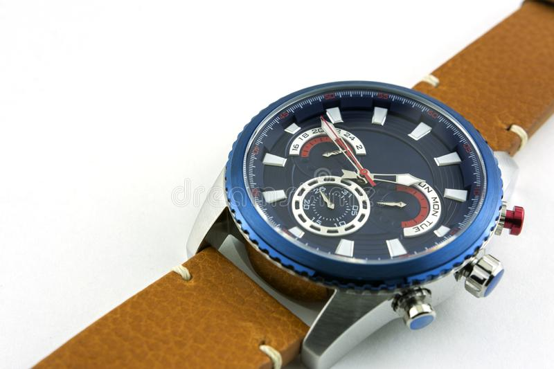 Stylish men`s steel watch on genuine leather strap on white background royalty free stock photos