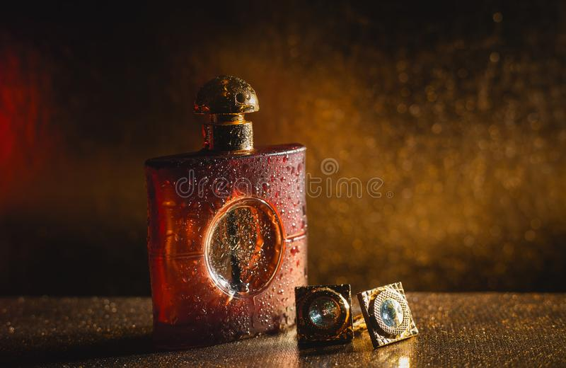 Stylish mens business accessories perfume and cufflinks stock image