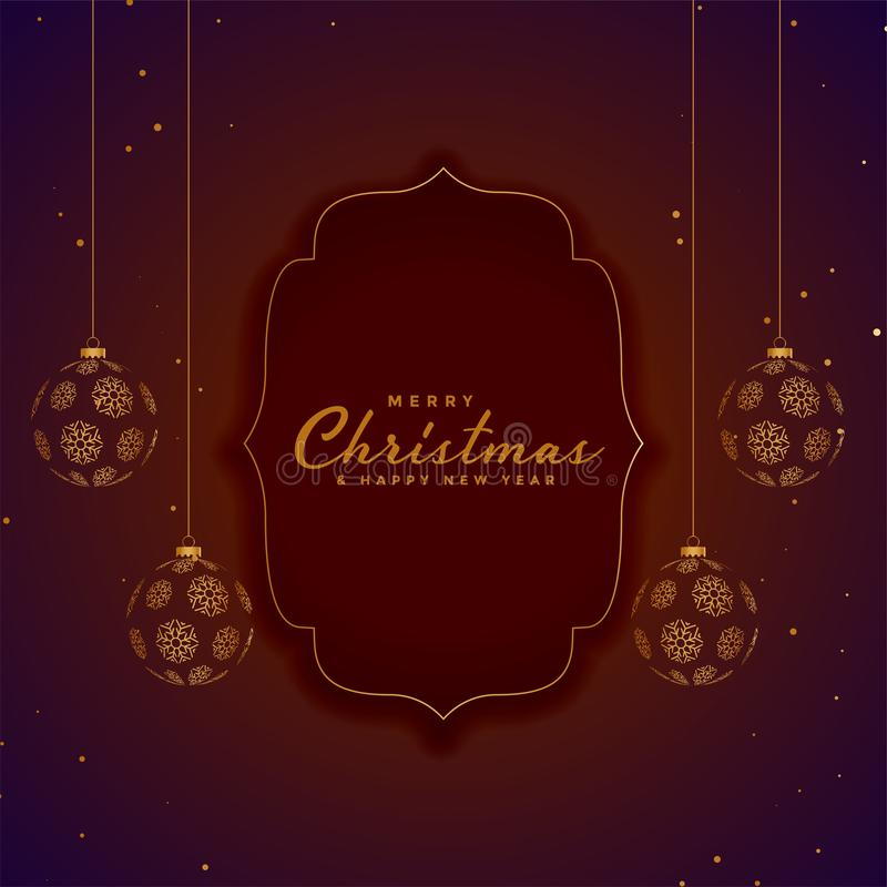 Stylish merry christmas decorative background with hanging balls. Vector vector illustration