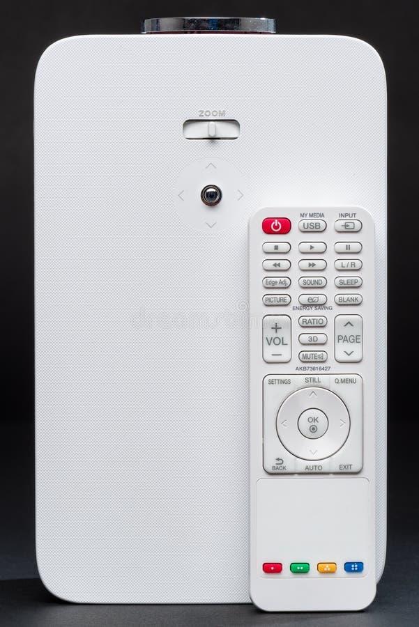 Stylish mini home cinema LED projector, lightweight tech gadget stock image