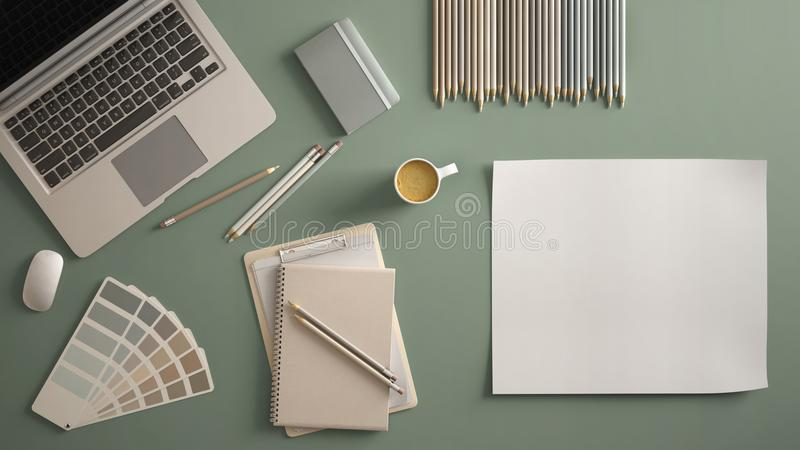 Stylish minimal office table desk. Workspace with laptop, notebook, pencils, coffee cup and sample color palette on pastel green b vector illustration