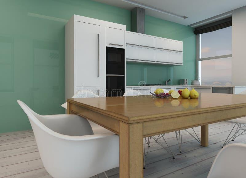 Stylish minimalist modern kitchen vector illustration