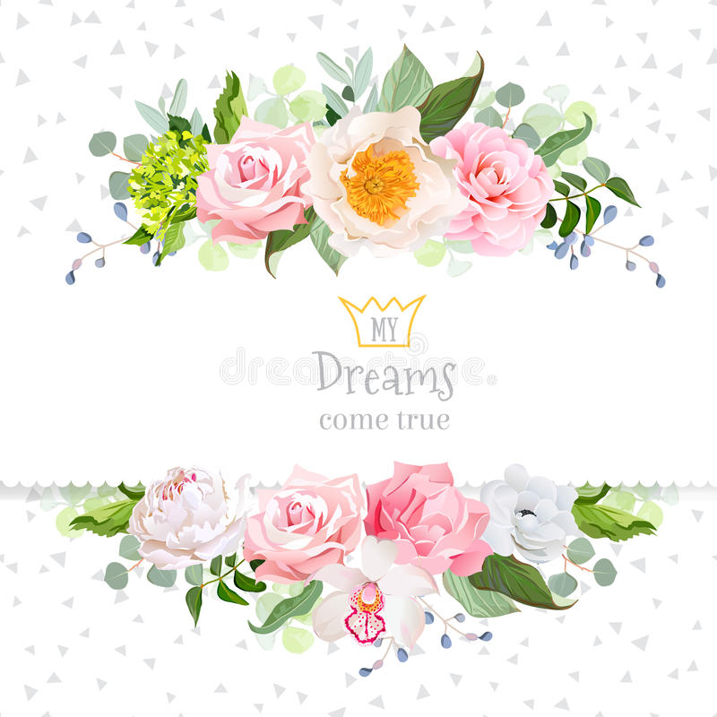 Stylish mix of flowers horizontal vector design frame. vector illustration